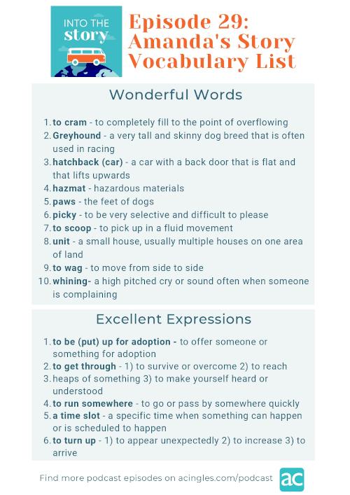 to get through en inglés_Episode 29 - Amanda's Story - Vocabulary